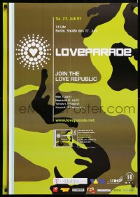 6z066 LOVE PARADE 2-sided 23x33 German music poster 2001 rock concert turned tragic, cool art!