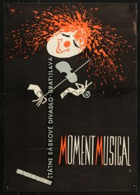 6z070 MOMENT MUSICAL 17x23 Czech music poster 1967 wild art of a violinist w/splattered red hair!