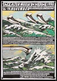 6z074 TAGE ALTER MUSIK IN HERNE 1995 23x33 German music poster 1995 art of horns in/over the ocean!