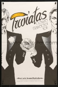 6z075 TUOIATAS 16x24 German music poster 1988 great art of two men holding hands!