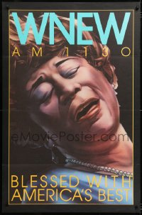 6z013 WNEW AM 1130 ELLA FITZGERALD radio poster 1980s great art, blessed with America's best!