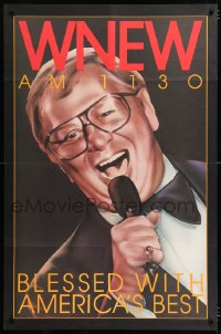 6z016 WNEW AM 1130 MEL TORME radio poster 1980s great art, blessed with America's best!