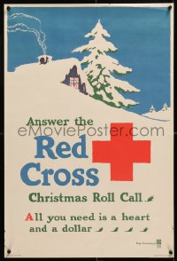 6z034 ANSWER THE RED CROSS 20x30 WWI war poster 1918 all you need is a heart and a dollar!