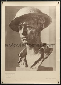 6z035 BRITISH EIGHTH ARMY SOLDIER 20x28 WWII war poster 1940s Jo Davidson bronze bust of a soldier!