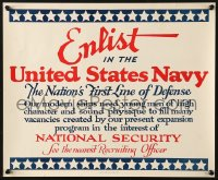 6z037 ENLIST IN THE UNITED STATES NAVY 14x17 WWII war poster 1940 ships need men of high character