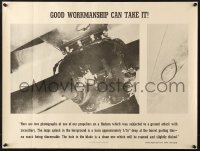 6z038 GOOD WORKMANSHIP CAN TAKE IT 19x25 WWII war poster 1940s images of damaged props!