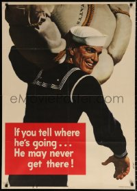 6z039 IF YOU TELL WHERE HE'S GOING 29x40 WWII war poster 1943 he may never get there, Falter art!