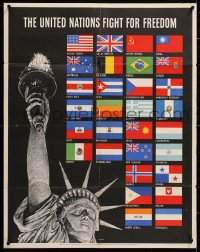 6z041 UNITED NATIONS FIGHT FOR FREEDOM 22x28 WWII war poster 1942 Lady Liberty & flags by Broder!