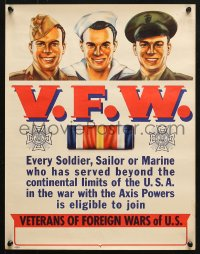 6z042 V.F.W. 15x19 WWII war poster 1940s Veterans of Foreign Wars, Syd Cockell art!