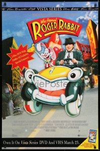 6z031 WHO FRAMED ROGER RABBIT 26x40 video poster R2003 Hoskins, sexy Jessica Rabbit in car!