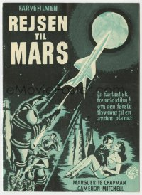 7a216 FLIGHT TO MARS Danish program 1951 K. Wenzel art, fantastic expedition conceived by man!