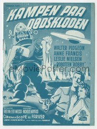 7a220 FORBIDDEN PLANET Danish program 1959 Anne Francis, Nielsen, Robby the Robot, different art!