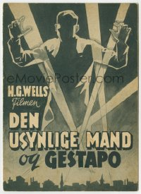 7a264 INVISIBLE AGENT Danish program 1942 art of invisible man in WWII, Peter Lorre, different!