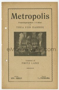 7a301 METROPOLIS Danish program 1927 Fritz Lang, Thea Von Harbou billed on cover, cool images!
