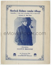 7a353 RETURN OF SHERLOCK HOLMES Danish program 1930 Clive Brook as the famous detective, different!