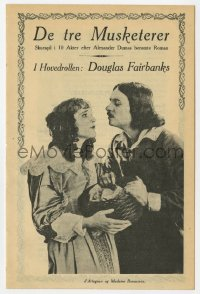 7a406 THREE MUSKETEERS Danish program R1920s Douglas Fairbanks as D'Artagnan, MacLaren as Queen Anne!