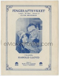 7a418 WELCOME DANGER Danish program 1930 different images of Harold Lloyd & pretty Barbara Kent!