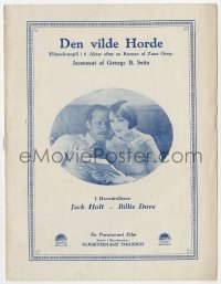 7a424 WILD HORSE MESA Danish program 1925 Jack Holt, Billie Dove, Zane Grey novel, different!