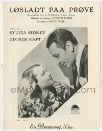 7a430 YOU & ME Danish program 1938 Fritz Lang, different images of Sylvia Sidney & George Raft!