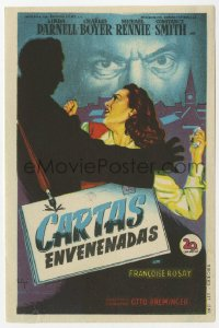 7a434 13th LETTER Spanish herald 1951 Otto Preminger, Linda Darnell, different Soligo art!