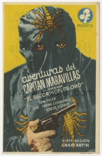 7a438 ADVENTURES OF CAPTAIN MARVEL Spanish herald 1943 cool image of The Scorpion with gun!