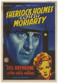 7a440 ADVENTURES OF SHERLOCK HOLMES Spanish herald 1940 Soligo art of Basil Rathbone & Ida Lupino!