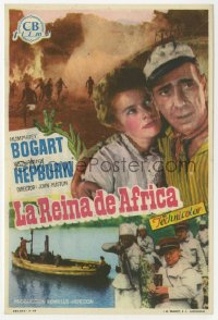 7a441 AFRICAN QUEEN Spanish herald 1952 different image of Humphrey Bogart & Katharine Hepburn!