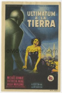 7a506 DAY THE EARTH STOOD STILL Spanish herald 1952 Soligo art of Patricia Neal cowering from Gort!