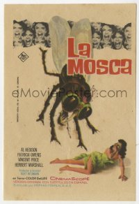 7a529 FLY Spanish herald 1963 classic sci-fi, different art of giant bug attacking scared woman!