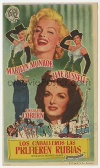 7a540 GENTLEMEN PREFER BLONDES Spanish herald 1955 sexy Marilyn Monroe & Jane Russell, different!