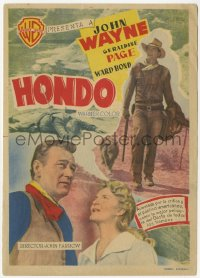 7a557 HONDO Spanish herald 1954 two completely different images of cowboy John Wayne + Page!