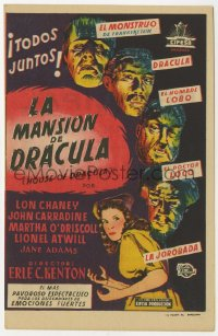 7a560 HOUSE OF DRACULA Spanish herald 1948 great art of classic monsters, Dracula & Frankenstein!