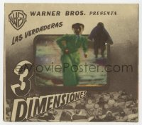 7a563 HOUSE OF WAX 4pg Spanish herald 1953 3-D, cool die-cut cover to create great 3D effect!