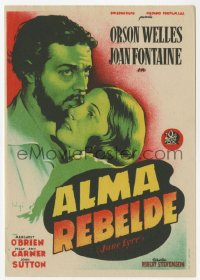 7a580 JANE EYRE Spanish herald 1946 Soligo art of Orson Welles as Rochester & Joan Fontaine!