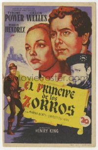 7a648 PRINCE OF FOXES Spanish herald 1950 Soligo art of Orson Welles, Tyrone Power & Wanda Hendrix!