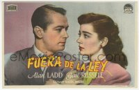 7a661 SALTY O'ROURKE Spanish herald 1945 different c/u of Alan Ladd & Gail Russell, Raoul Walsh