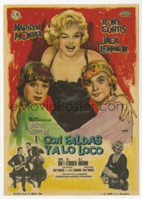 7a675 SOME LIKE IT HOT Spanish herald 1963 Mac art of Marilyn Monroe with Curtis & Lemmon in drag!