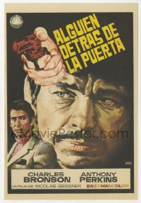 7a676 SOMEONE BEHIND THE DOOR Spanish herald 1971 Jano art of Charles Bronson & Anthony Perkins!