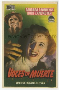7a677 SORRY WRONG NUMBER Spanish herald 1950 different image of Burt Lancaster & Barbara Stanwyck!