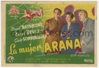 7a678 SPIDER WOMAN Spanish herald 1947 Basil Rathbone as Sherlock Holmes, Nigel Bruce, different!