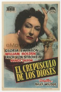 7a681 SUNSET BOULEVARD Spanish herald 1952 close up of Gloria Swanson with drink, Billy Wilder!