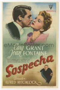 7a683 SUSPICION Spanish herald 1942 Hirschfeld art of Hitchcock + Grant & Fontaine, different!