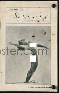7a330 OLYMPIA PART TWO: FESTIVAL OF BEAUTY Danish program 1938 Riefenstahl, 1936 Olympics, rare!
