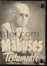 7a399 TESTAMENT OF DR. MABUSE Danish program R1951 Fritz Lang psychotic criminal genius, different!