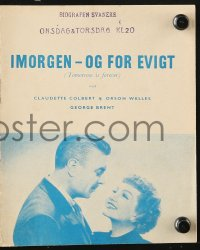 7a411 TOMORROW IS FOREVER Danish program 1950 Orson Welles, Claudette Colbert & George Brent!
