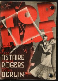 7a412 TOP HAT Danish program 1936 different images of Fred Astaire & Ginger Rogers dancing!