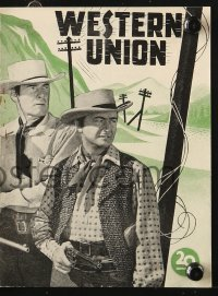 7a419 WESTERN UNION Danish program 1949 Zane Grey, Fritz Lang, Robert Young, Randolph Scott!