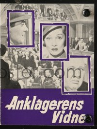 7a426 WITNESS FOR THE PROSECUTION Danish program 1958 Billy Wilder, Tyrone Power, Marlene Dietrich!