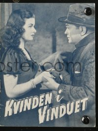 7a429 WOMAN IN THE WINDOW Danish program R1950s Fritz Lang, Edward G. Robinson, sexy Joan Bennett!