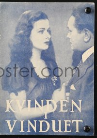 7a428 WOMAN IN THE WINDOW Danish program 1947 Fritz Lang, Robinson, Joan Bennett, different!